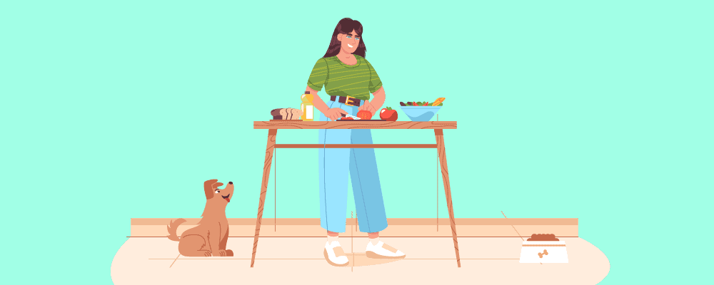 Woman preparing a healthy diet for her dog