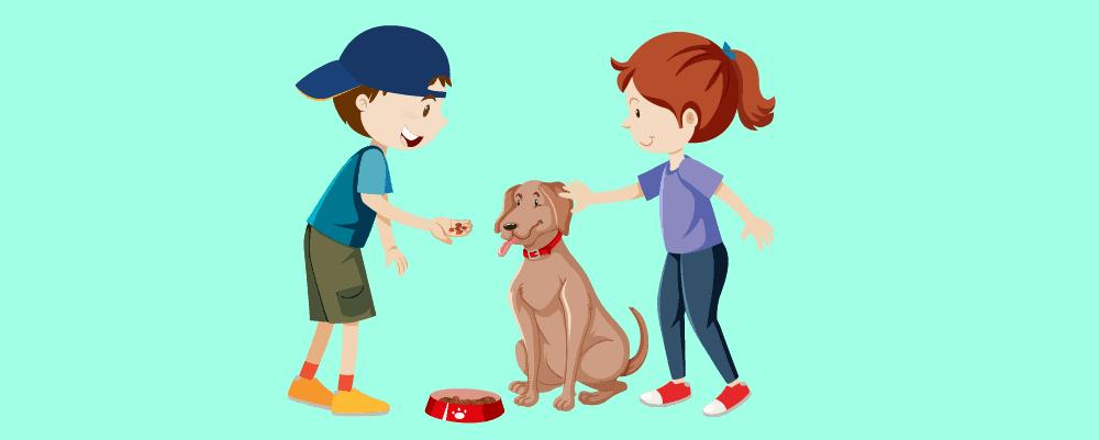 Kids feeding their dog